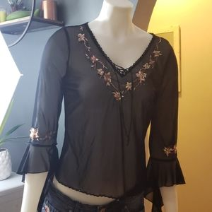 ⭐3/30 Simon Chang black top with sequin flowers
